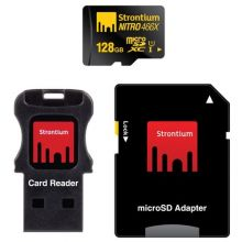 Карта памяти Strontium NITRO 128GB microSDXC Class 10 UHS-I U1 466X + SD adapter & USB Card Reader