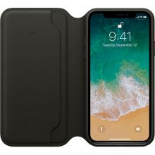 Чехол Apple Leather Folio для iPhone X (Black)