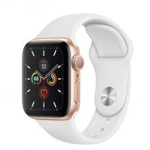 Часы Apple Watch Series 5 GPS 40mm Aluminum Case with Sport Band (Золотистый/Белый)