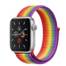 Часы Apple Watch Series 5 GPS 40mm Aluminum Case with Sport Loop Pride (Серебристый/Радужный)