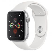 Часы Apple Watch Series 5 GPS 44mm Aluminum Case with Sport Band (Серебристый/Белый)
