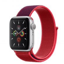 Часы Apple Watch Series 5 GPS 40mm Aluminum Case with Sport Loop (Серебристый/Гранатовый)